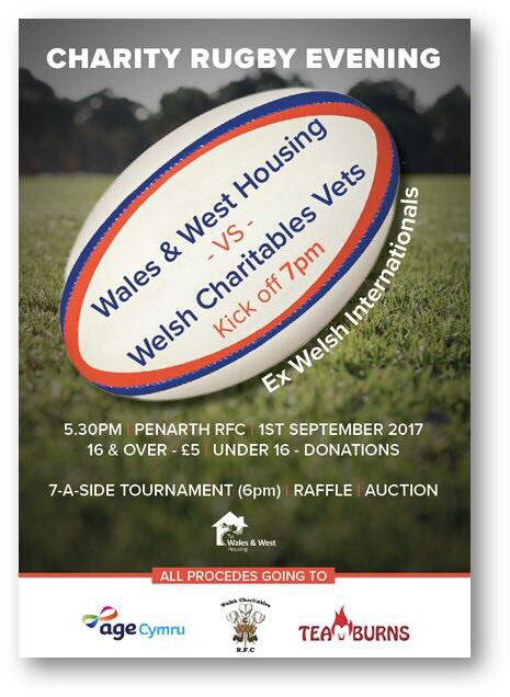2 Days to go. Friday 1 Sept 7pm KO @WWHA #Charity #Rugby match @PenarthRFC #Socksdown <br>http://pic.twitter.com/8FhdX7nqGM
