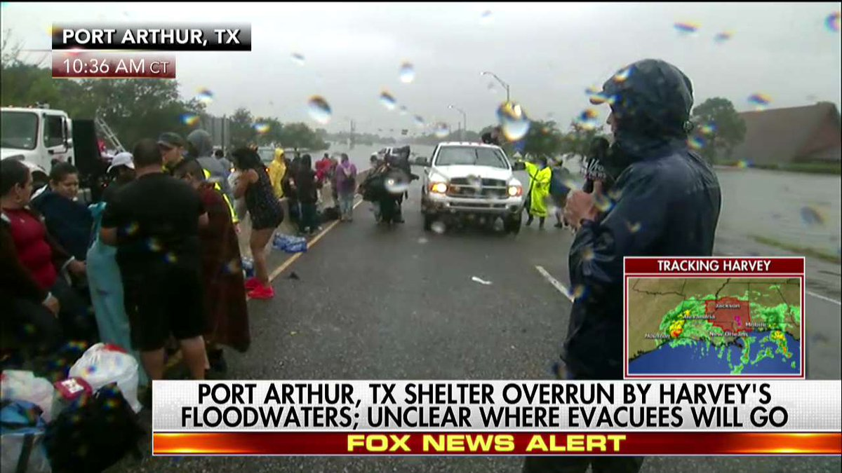 """Fox News on Twitter: """"Evacuees fill streets of Port Arthur, Texas after shelter overrun by Harvey's floodwaters https://t.co/H3ssYaCEg6"""""""