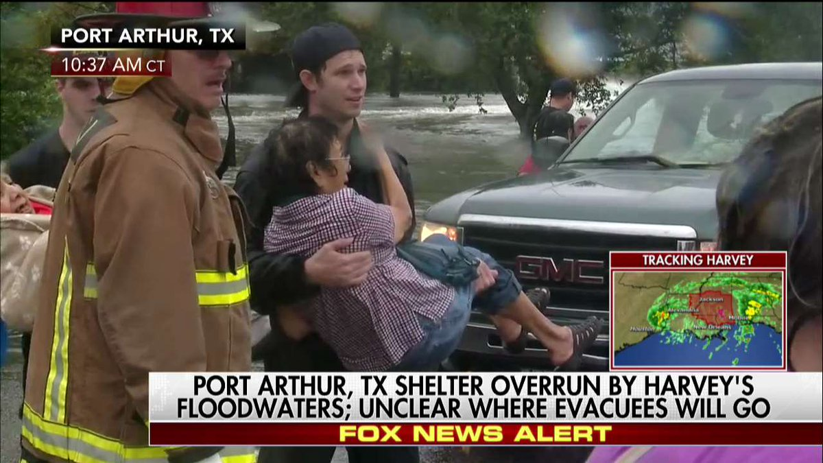 """Fox News on Twitter: """"Port Arthur evacuees help each other after shelter overrun by Harvey's floodwaters https://t.co/OXoO1GOqdQ https://t.co/gEzq7bWms2"""""""