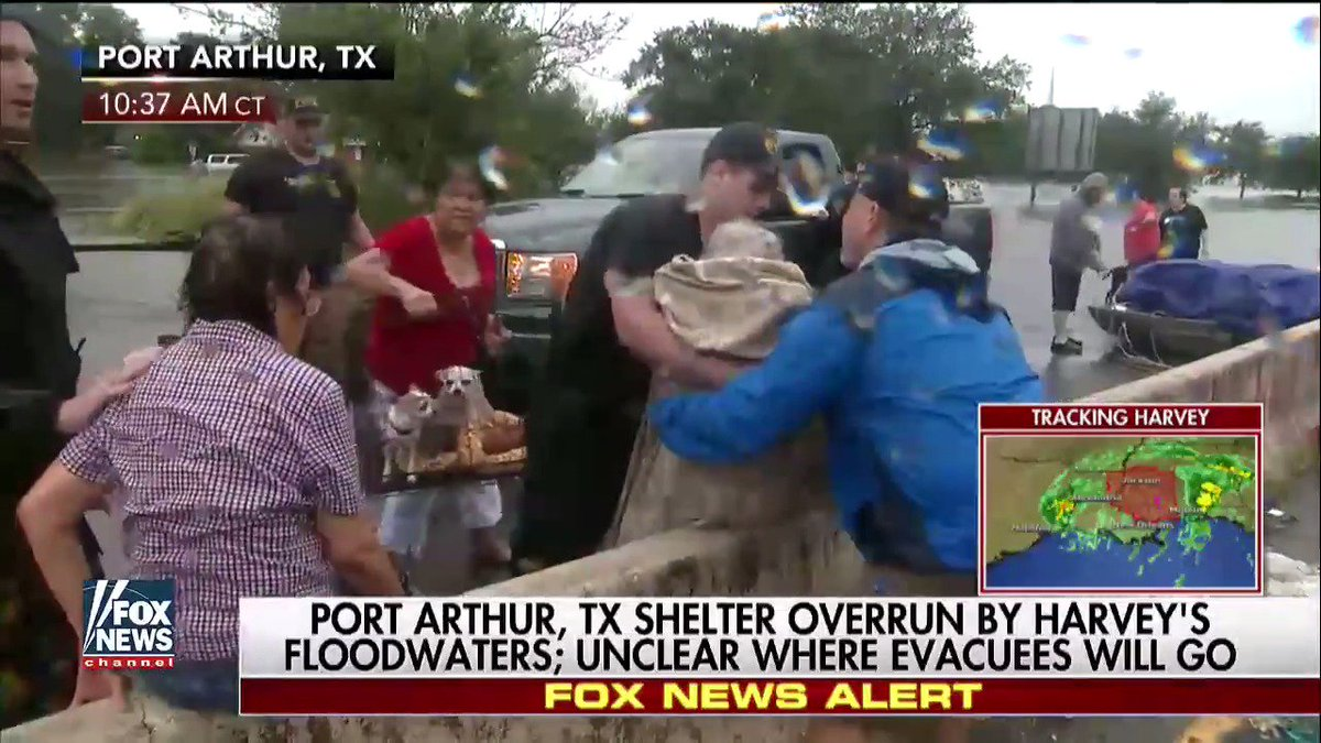 """Fox News on Twitter: """"Evacuees stranded on Port Arthur highway after shelter overrun by Harvey's floodwaters https://t.co/OXoO1H615o @MattFinnFNC ..."""