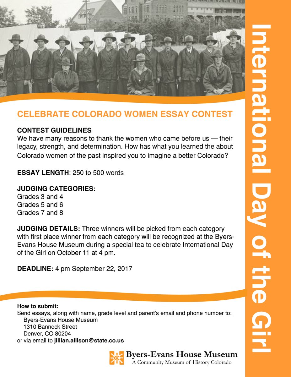 Essay Science And Religion History Colorado On Twitter International Day Of The Girl Writing Contest  Is Open Girls Grades  Send Us Your Writing Denver Stateofco  Herstory  Essay About Paper also Learning English Essay History Colorado On Twitter International Day Of The Girl Writing  Essay Writing Topics For High School Students