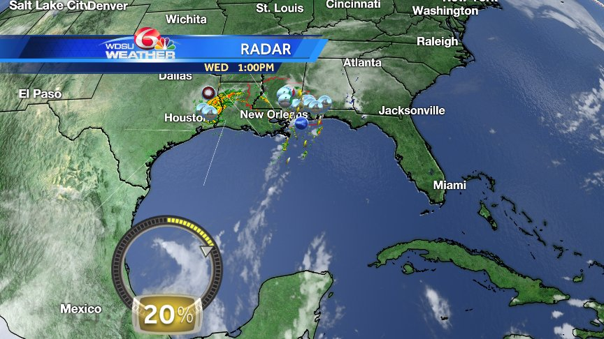 20% chance tropical development SW Gulf in 3-5 days. Models pick up on this! #nola @wdsu https://t.co/uaLbQcJ9U3