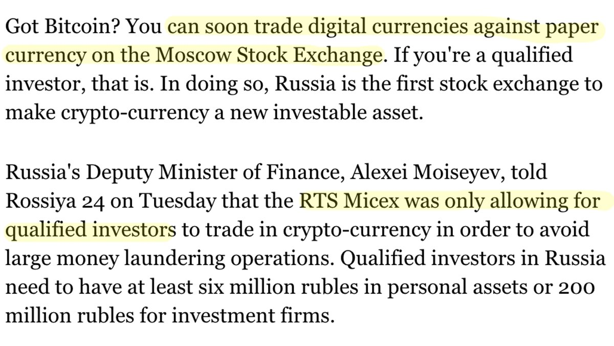 Wow. Moscow Stock Exchange Welcomes Crypto-Currency Trade https://t.co/OJPbw5BmnM https://t.co/PwixZ3XGCg