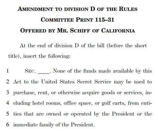 I'm introducing an amendment to prohibit payment of @SecretService funds to Trump businesses. @POTUS should not profit off of the Presidency