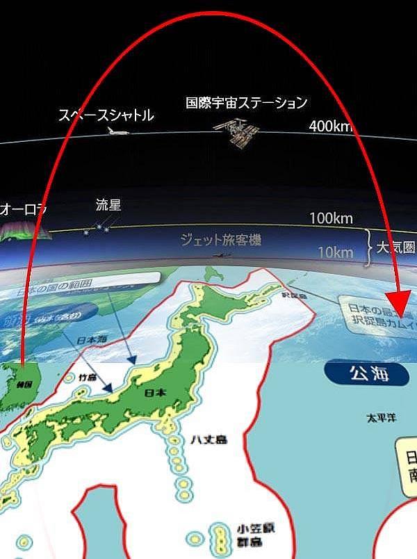 北朝鮮から発射されたミサイルの軌道(弾道)