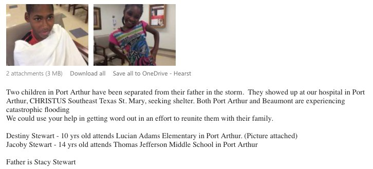 Two kids separated from their father in Port Arthur. Christus Hospital is trying to find him. https://t.co/iSvqQnKbcj