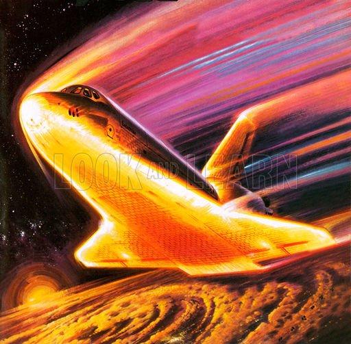大気圏に突入するスペースシャトル