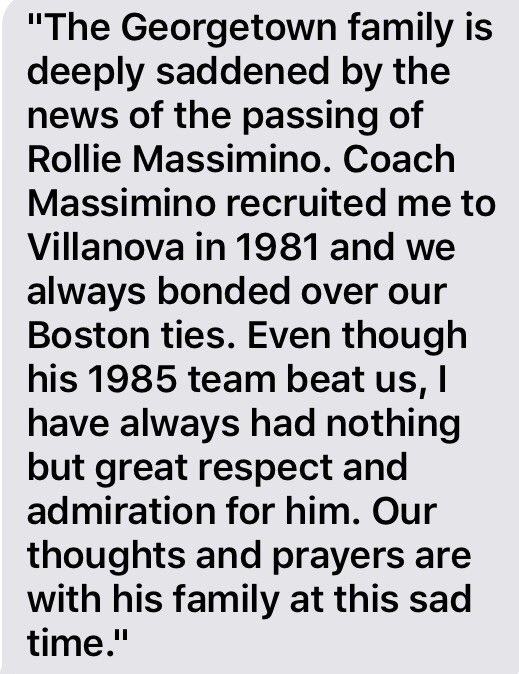 Coach Patrick Ewing's statement on the passing of Rollie Massimino: https://t.co/frSrF39LbJ