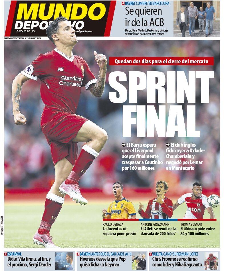 Märk väl  det spanska transferfönstret stänger inte i dag utan i morgon.  Tidningen blickar på förstasidan också på tre svåra alternativ till ... 4ef43a23eefb9