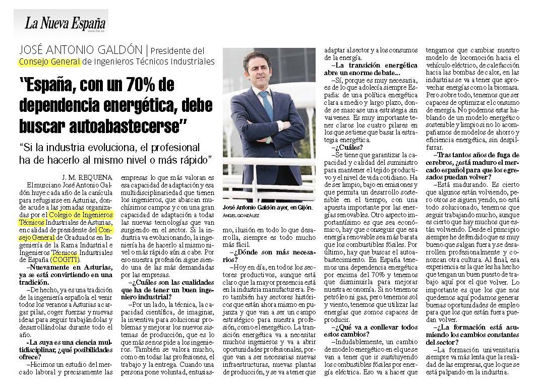 "José Antonio Galdón presidente de COGITI:""España, con un 70% de dependencia energética, debe buscar autoabastecerse"" https://t.co/hOsNU4hvka https://t.co/8pja2FeVVx"