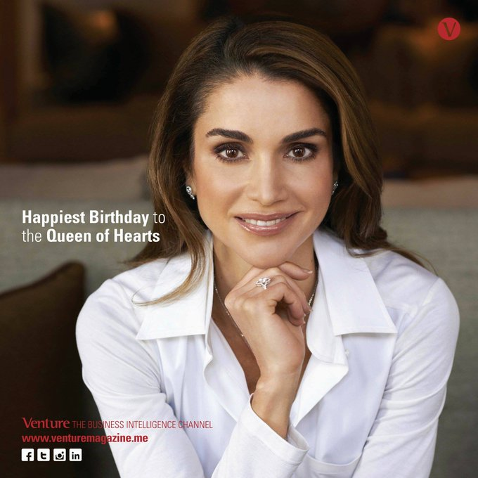 Venture magazine family wishes her Majesty Queen Rania Al Abdullah a Happy Birthday!