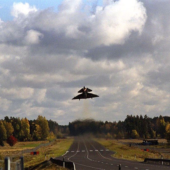 Viggen road base takeoff