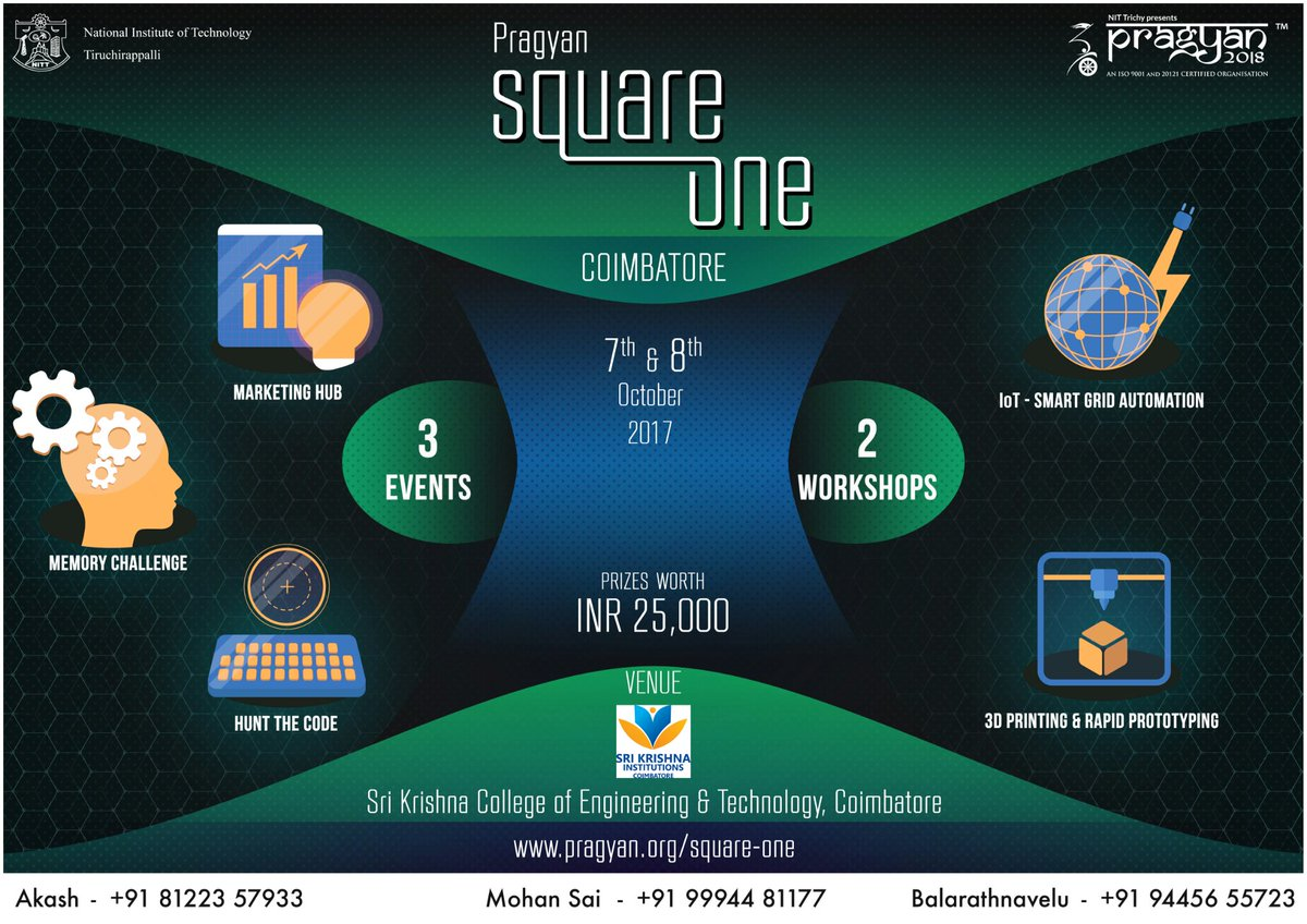 #Pragyan #SquareOne is coming to #Coimbatore with extraordinary events and workshops. Learn more at http:// prgy.in/squareone  &nbsp;  <br>http://pic.twitter.com/SWScTwsANh