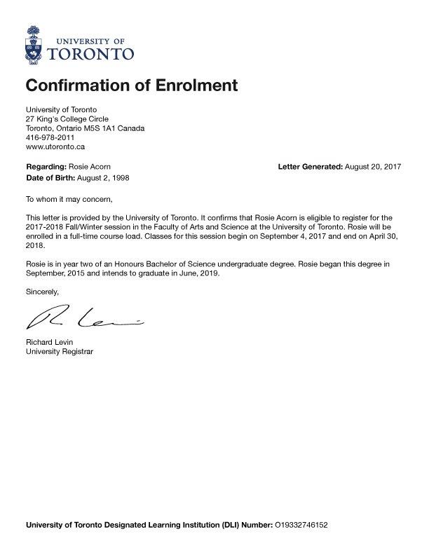 Enrollment Confirmation - myUNE