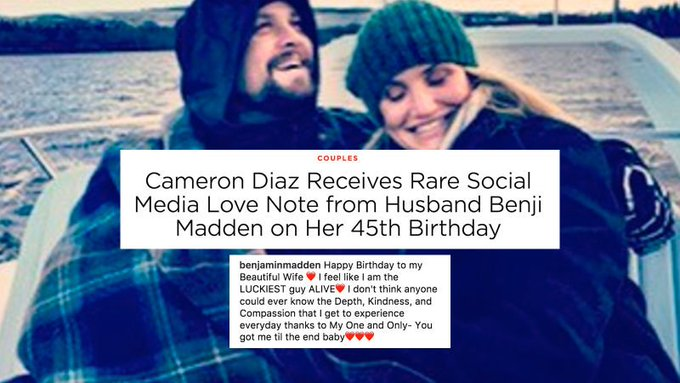 Benji Madden wishes Cameron Diaz Happy Birthday on Instagram, People magazine rejoices