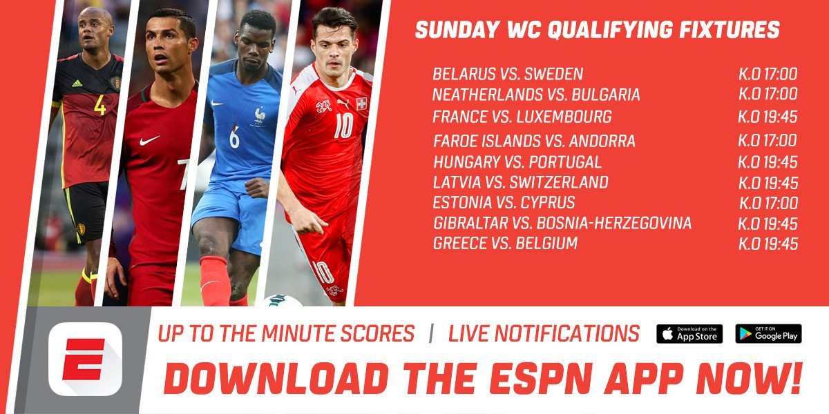 Live news and alerts on the espn app of all the world cup qualifiers