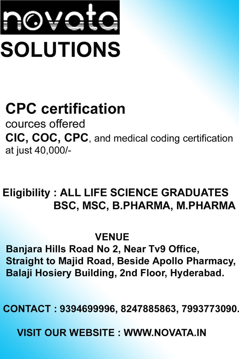 Novata solutions novatain twitter cpc certification cic coc cpc and medical coding certification at just 40000 eligibility all life science bsc msc barm marmpicitter xflitez Image collections