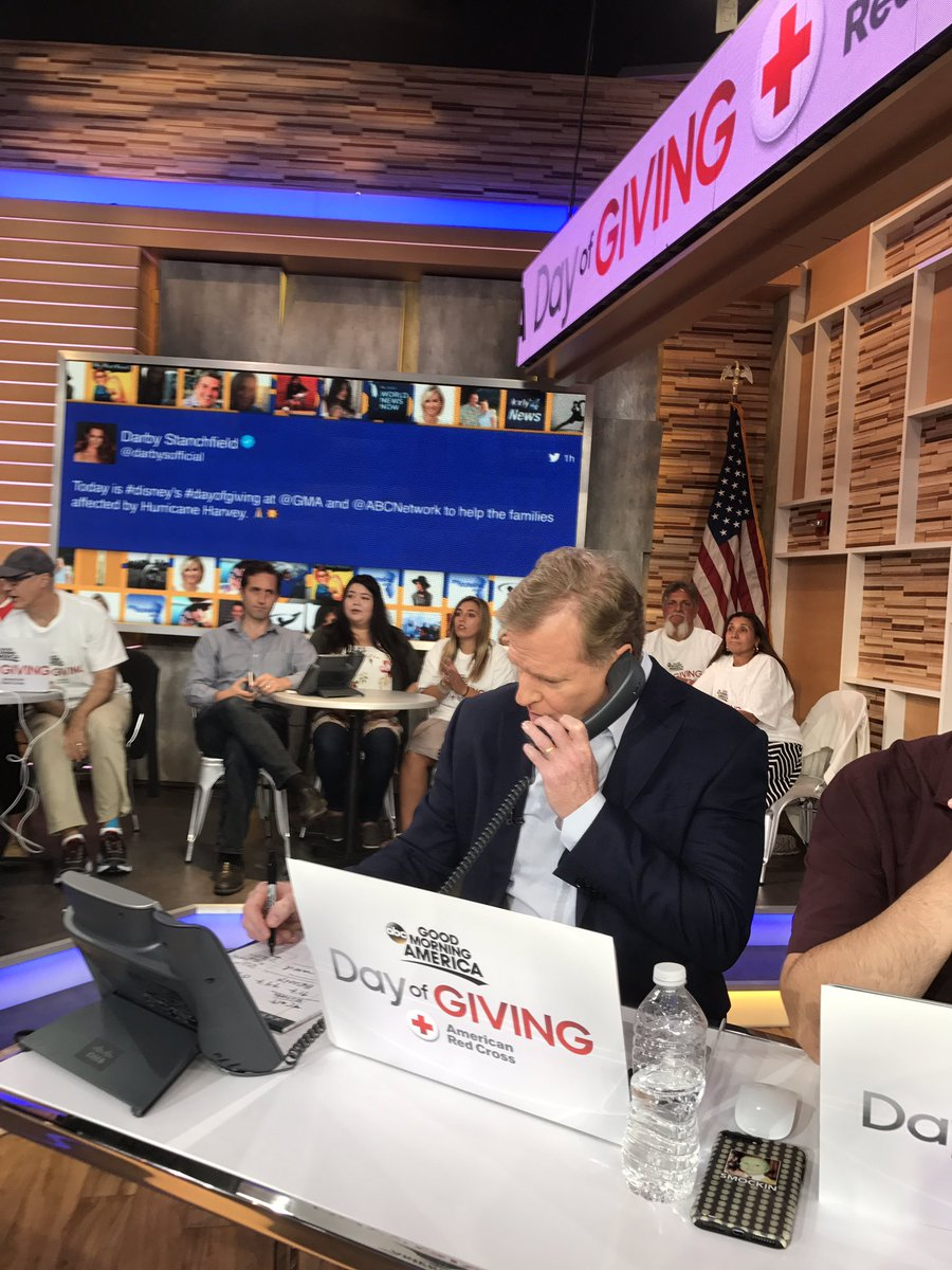 Honored to be at @GMA to thank people who donated to @RedCross #HurricaneHarvey relief efforts #DayOfGiving