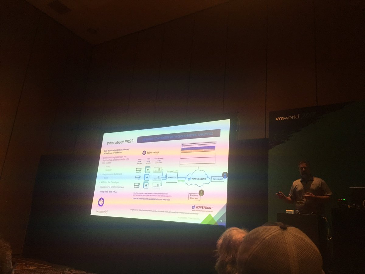 .@VMworld .@VirtualMerlin &quot;Monitoring is critical for architecting #container services&quot; #WavefrontHQ #Pivotal Container Service #developers<br>http://pic.twitter.com/jsWASrP3Yy