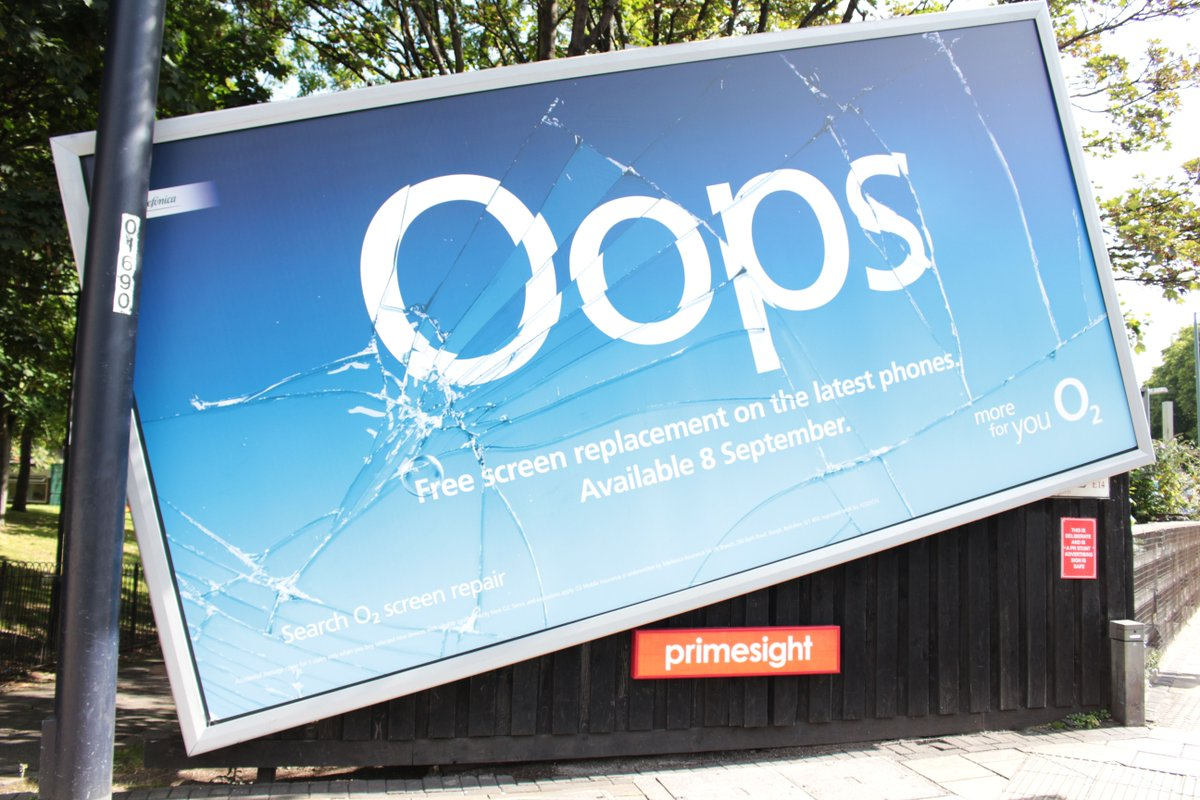 'Broken' billboards promote screen replacement offer