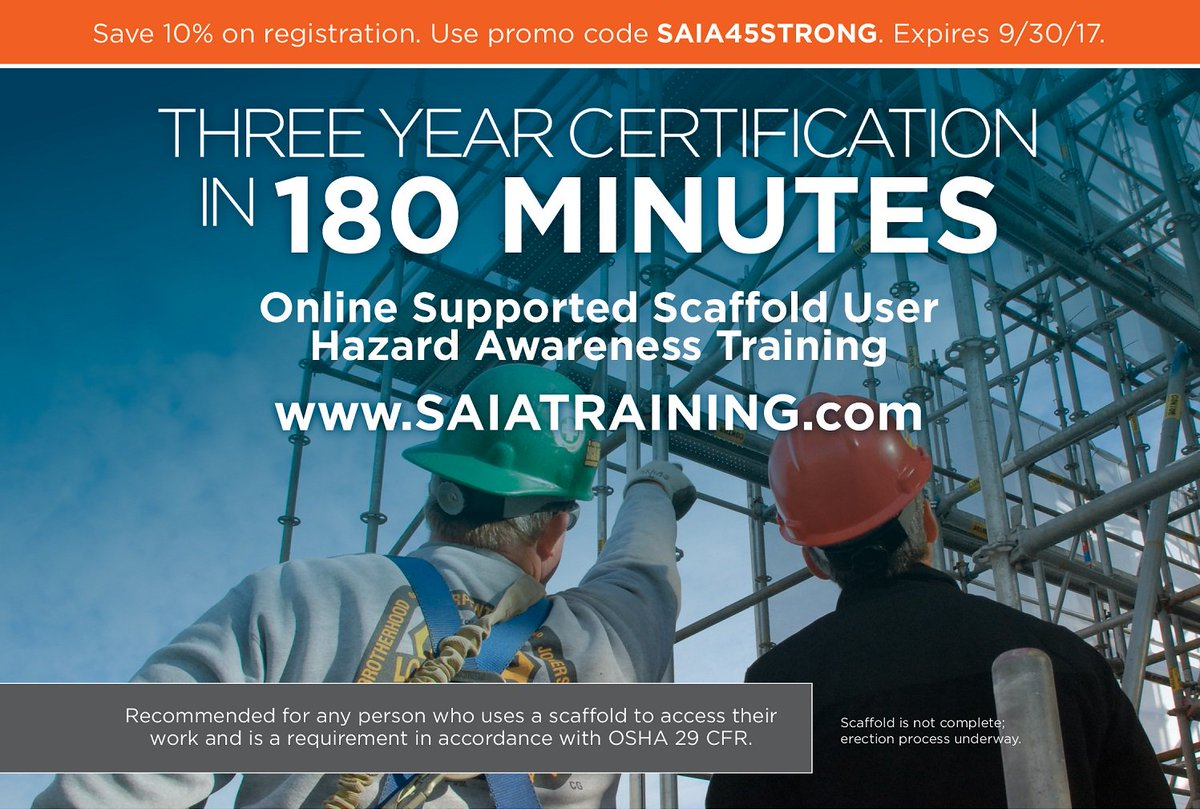 Scaffold access on twitter 3 year certification online with scaffold access on twitter 3 year certification online with the supported scaffold user hazard awareness training save 10 until sept 1betcityfo Choice Image
