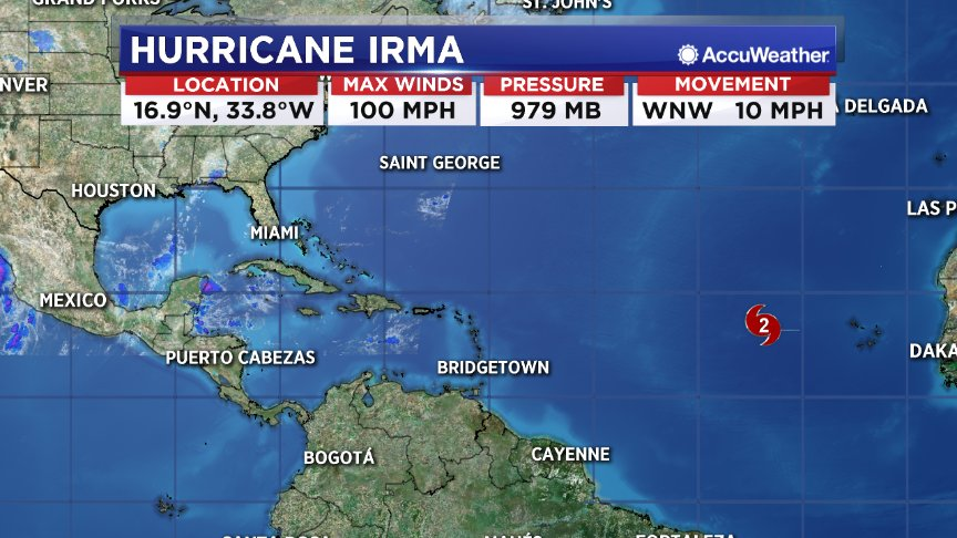 #Irma is now a category 2 hurricane.  Irma con't to rapidly intesify way out in the Atlantic https://t.co/H2vqTABgYu