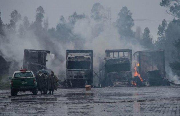 Alerta en el sur de Chile por la quema de 29 camiones