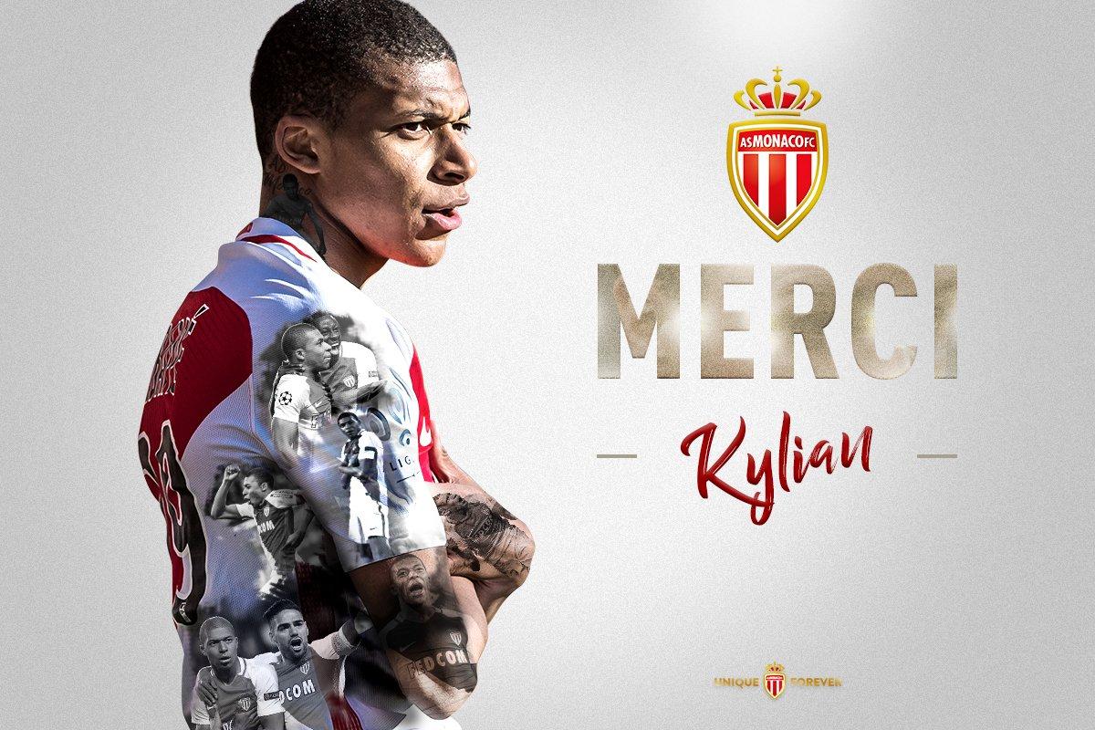 L'AS Monaco souhaite le meilleur pour la suite à @KMbappe qui rejoint le @PSG_inside ! #MerciKylian