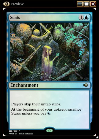 For people who hate untap steps, I've got an exclusive #MTGO preview today - awesome new art for Stasis! https://t.co/h1qjG1CnMD