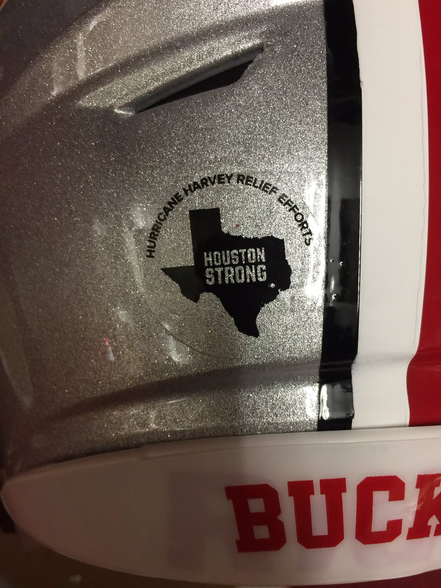 #HoustonStrong helmet decal being worn by both @OhioStateFB and @HoosierFootball tonight https://t.co/xDCRO3k78v
