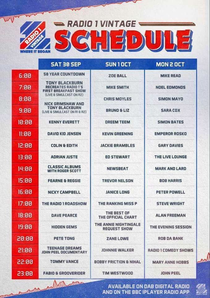 You're going to spend three days geeking out listening to the Radio 1 Vintage station next month. https://t.co/FRbvBK71JD