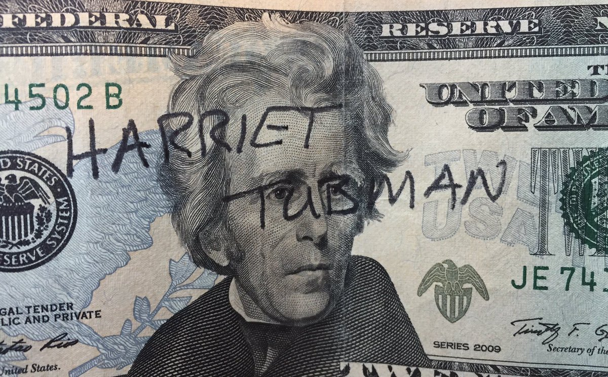 "How about writing ""HARRIET TUBMAN"" across Jackson's face on every $20 bill that passes through our hands? #resist https://t.co/ZFksm8Sh7V"