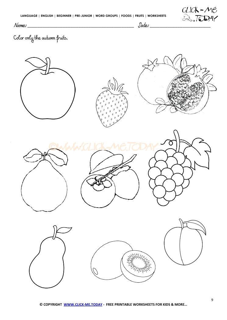 click on twitter 150 free printables for fruits fruits worksheet 9 color only. Black Bedroom Furniture Sets. Home Design Ideas