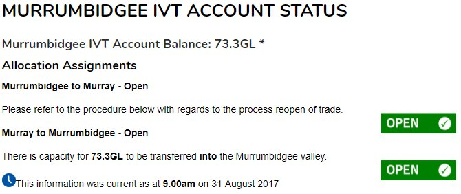 #IVT yesterday and today - water continues to move up into the #Bidgee from good southern supply @H2OX_News @aithernews @WaterFinn<br>http://pic.twitter.com/e9ZGztNOTk
