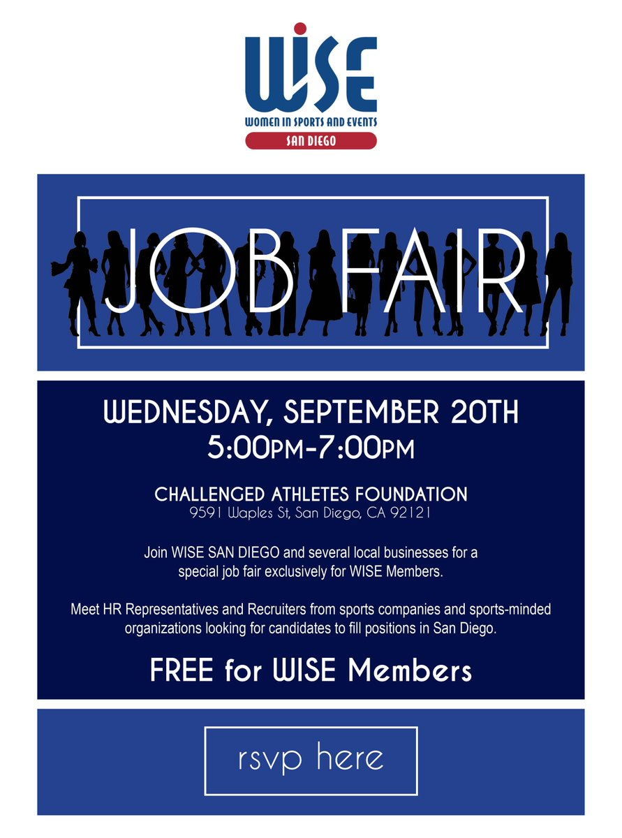 SDSU Sports MBA Is Excited To Attend The WISESanDiego Job Fair At CAF On 9 20 Join Us SD Sportsbiz Community