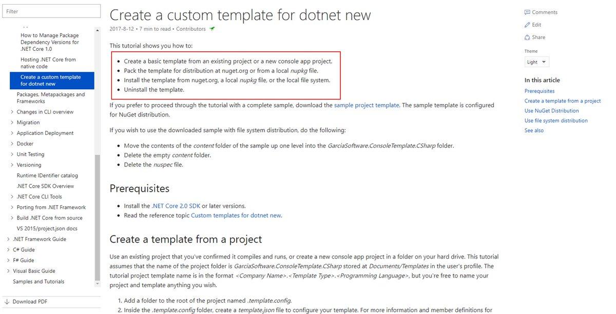 its easy to pack the template using nuget httpsdocsmicrosoftcom dotnetcoretutorialscreate custom template pictwittercomikteqrdwhr