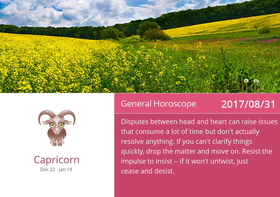 Aug 31, 2017: Daily Horoscope => See more: https://t.co/CiJVVVS19y Accurate? Like = Yes #Capricorn #Horoscope https://t.co/cxj6PAfJOR