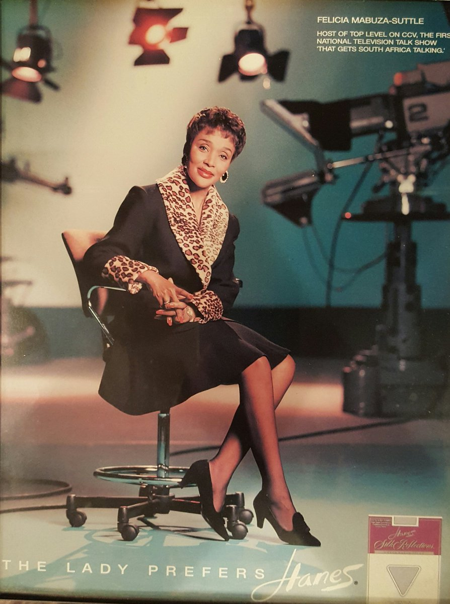 Going thru my archives & came across this #HanesStockings ad I did in 1992,  when we launched my talkshow, which was first called  #TopLevel.pic.twitter.com/ ...