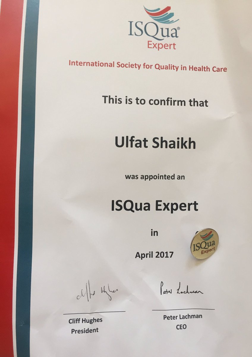 Ulfat shaikh ulfatshaikh twitter got my isqua expert certificate pin in mail today last time so thrilled about a certificate was student of the week award in 3rd gradepicitter xflitez Choice Image