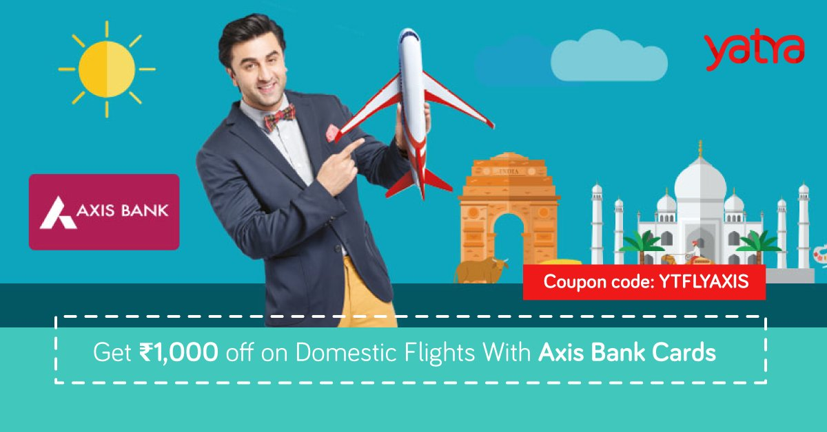 Image result for Yatra - 1000 off On Dom Flights With Axis Bank Cards