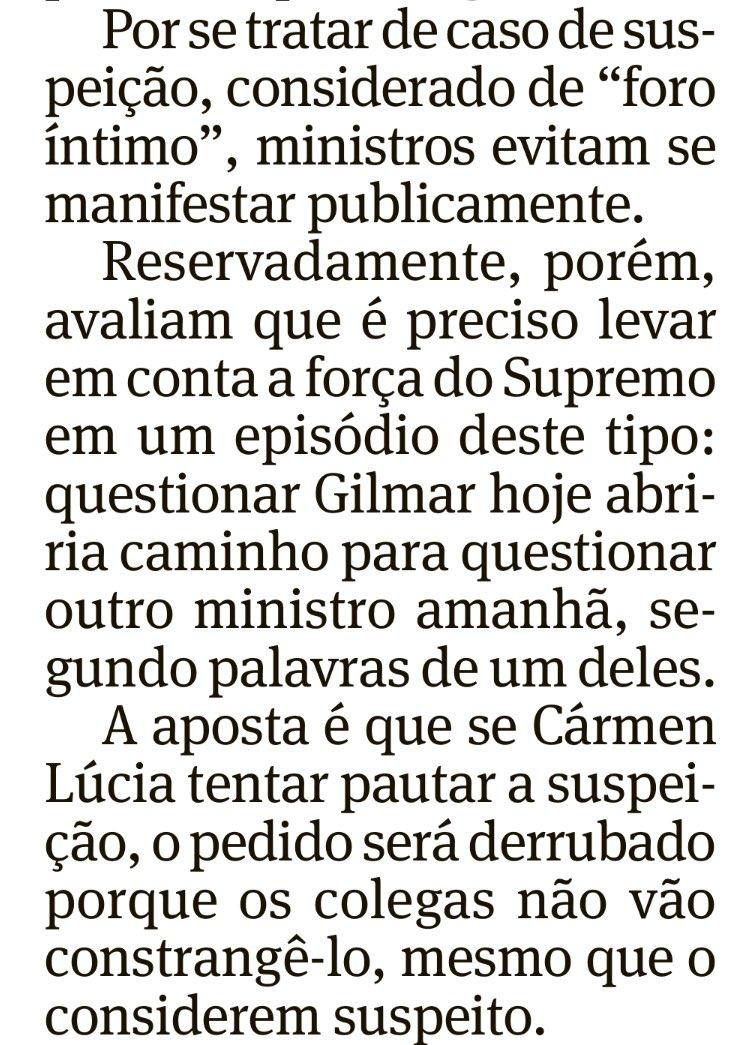 Supremo corporativo: STF não deve considerar Gilmar Mendes 'suspeito' nos casos de Jacob Barata. Melhor não abrir precedente, não é? 🤔