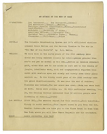 RT @Wellesnetcom 17 page draft script for Orson Welles THE WAR OF THE WORLDS radio show on the auction block. #orsonwelles | https://t.co/1JQcnLwCVk