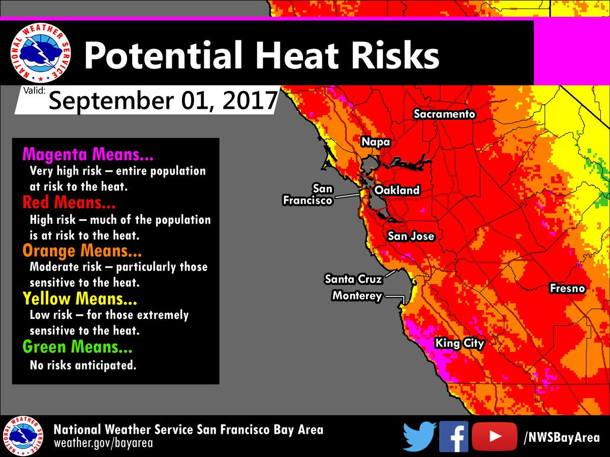Nws Bay Area Su Twitter Hot Hot Hot Heat Risk Maps Continue To Show Widespread High Very High Potential Risks Over Much Of The Area Cawx Caheat Heatwave Https T Co Gqlzqq4vgo Basic weather report for san francisco bay area with current conditions, hourly and daily forecast and radar. heat risk maps