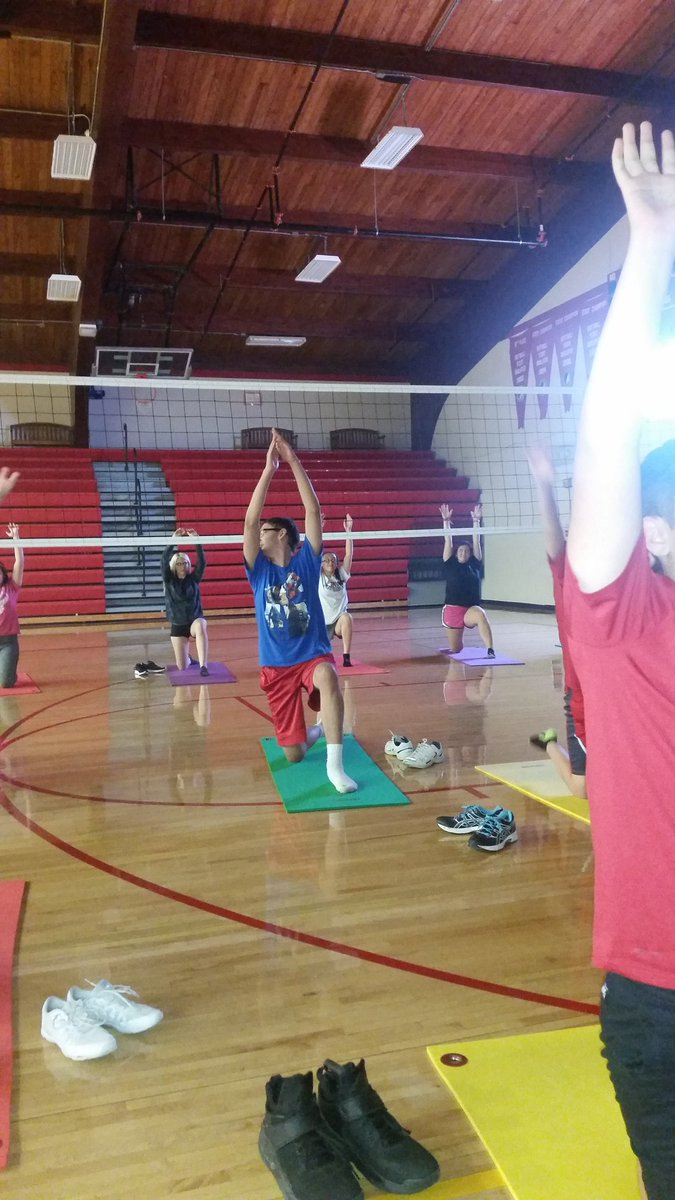 A little yoga today!   Great way to end the first week of fitness!  #CHSPERocks <br>http://pic.twitter.com/AyUTaKPMxX