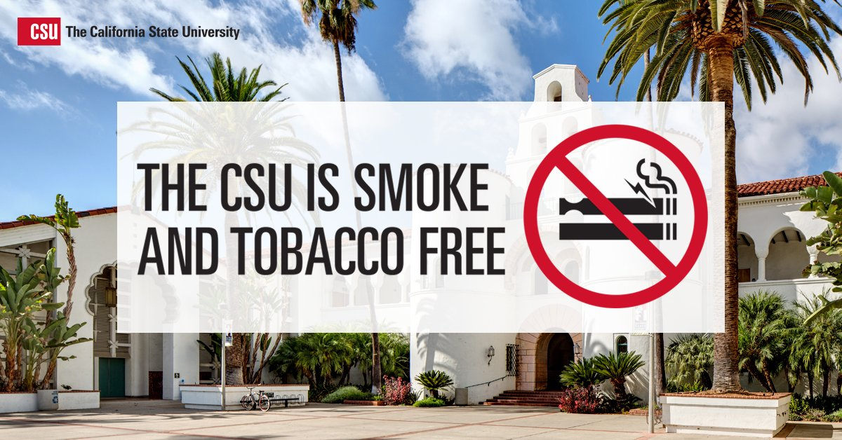 Beginning today, all 23 CSU campuses are 100% #smokefree. https://t.co/8lAD4BbQGN