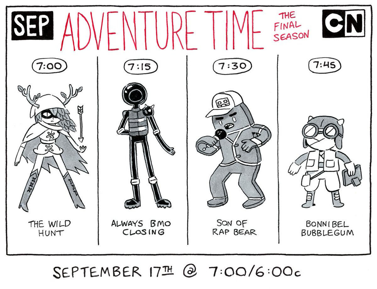 Adventure Time returns Sunday, September 17th with 4 back-to-back new episodes @ 7:00/6:00c on @cartoonnetwork https://t.co/yCAVuojfHD
