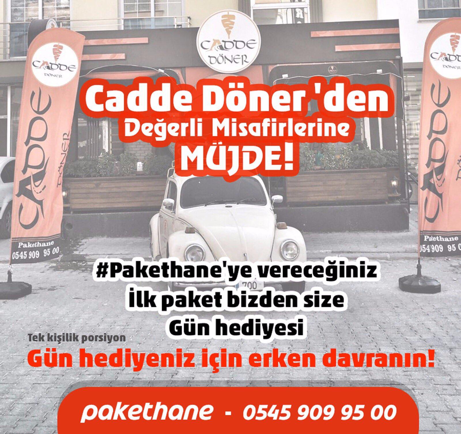 ο χρήστης Cadde Döner στο Twitter Pakethaneye Düşen Ilk Sipariş