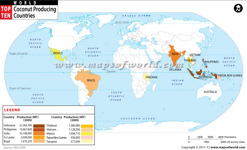 Mapsofworld on twitter indonesia the philippines and india are indonesia the philippines and india are the 3 biggest coconut producing countries refer this worldmap topten gumiabroncs Choice Image