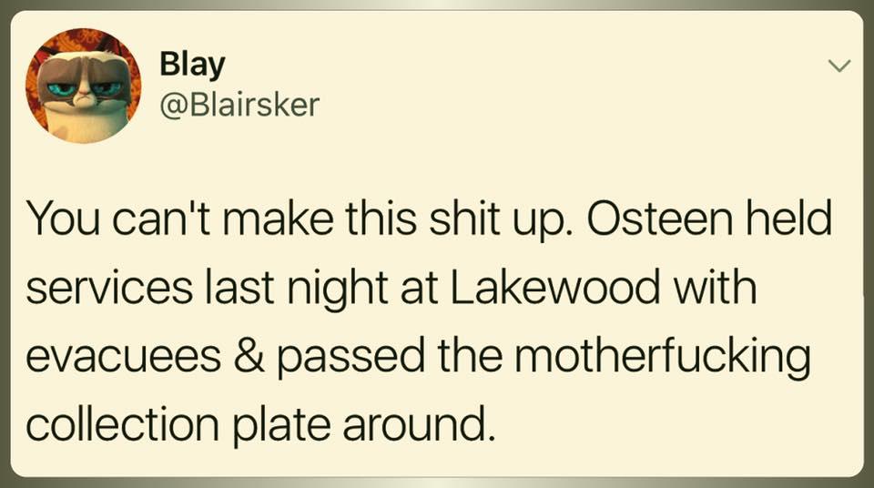 joel osteen is a scumbag pimp ..... https://t.co/nsRBPTyEQF