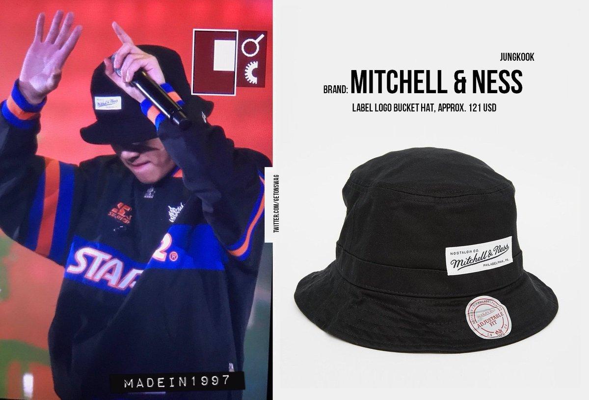 Beyond The Style Alex On Twitter Jungkook Bts 170902 Seo Taiji X Bts Jungkook 정국 방탄소년단 Mitchell Ness Logo Bucket Hat Black